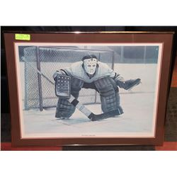 "VINTAGE GOALIE ""AT THE CREASE"" PRINT, KEN DENBY"