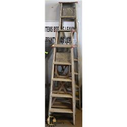 LOT OF 4 ASSORTED SIZE WOOD LADDERS 5'-8'