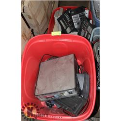 LOT OF 3 LARGE TOTES OF ELECTRONICS