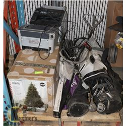 PALLET WITH CHRISTMAS TREE, GOLF CLUBS AND PRINTER