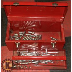 TOOL BOX WITH CONTENTS INCL WRENCHES & SOCKETS