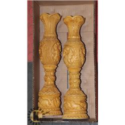 """PAIR OF HANDCARVED CANDLE HOLDERS 14"""" HIGH"""