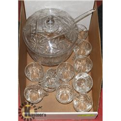 CRYSTAL PUNCH BOWL AND 12 CRYSTAL GLASSES.