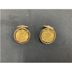 PAIR OF 14K YELLOW GOLD CUFFLINKS S/W HUNGARIAN GOLD COINS