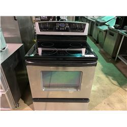 WHIRLPOOL GLASSTOP STAINLESS STEEL AND BLACK RANGE OVEN
