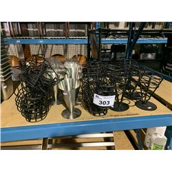 LOT OF BLACK AND SILVER CONDIMENT AND MILK SHAKE GLASSES