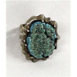 Hand Wrought Sterling Turquoise Ring, Size 7.5