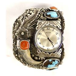 Navajo Silver Turquoise Coral Watch Bracelet