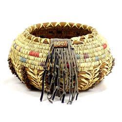 Leather and Bead Multi-Toned Pine Needle Basket
