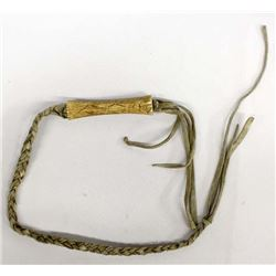 Carved Bone Handled Leather Whip