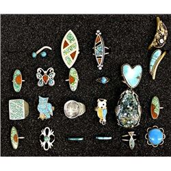 Collection of Native American Navajo & Zuni Rings