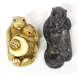 2 Composition Otter Figurines
