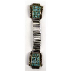 Navajo Sterling Chip Inlay Turquoise Watch Band