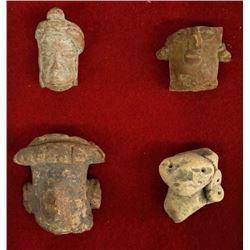 PreColumbian Pottery Throws, Wood & Glass Display