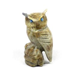 Zuni Picasso Marble Owl Fetish by Arvella Cheama