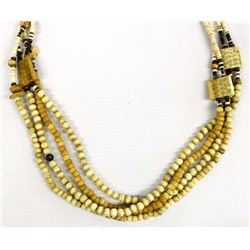 Ethnic Carved Bone Bead & Shell Heishi Necklace