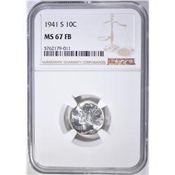 1941-S MERCURY DIME, NGC MS-67 FB