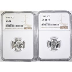 2-1942 MERCURY DIMES 1-NGC MS-66-FB & 1-MS-67