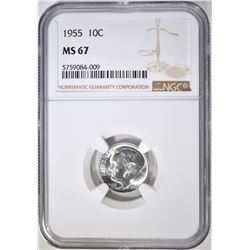 1955 ROOSEVELT DIME, NGC MS-67
