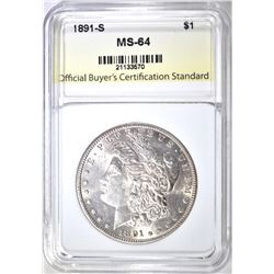 1891-S MORGAN DOLLAR, OBCS CH/GEM BU