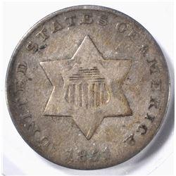 1851 3 CENT SILVER FINE