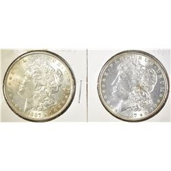 (2) 1887 MORGAN DOLLARS, GEM BU