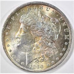 1890-O MORGAN DOLLAR, CH BU -OBV. TONED