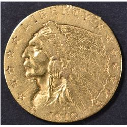 1910 $2.50 GOLD INDIAN, AU