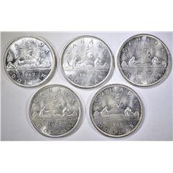 5-BU 1962 CANADIAN SILVER DOLLARS
