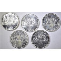 5-BU 1963 CANADIAN SILVER DOLLARS