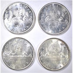 2-1960, 1-61 & 1 63 BU CANADA SILVER DOLLARS