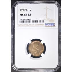 1929-S LINCOLN CENT  NGC MS-64 RB