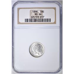 1898 BARBER DIME  NGC MS-64