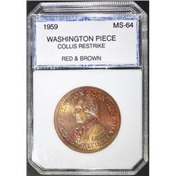1959 WASHINGTON MEDAL COLLIS RESTRIKE PCI CH BU