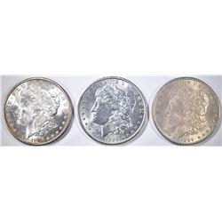 3 1889 MORGAN DOLLARS BU
