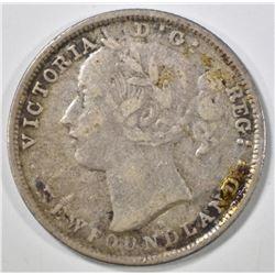 1876 H SILVER 20 CENT NEWFOUNDLAND CANADA