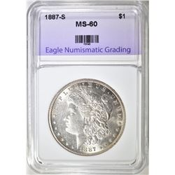 1887-S MORGAN DOLLAR ENG BU