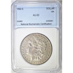 1892-S MORGAN DOLLAR NNC AU
