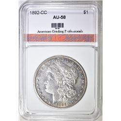1892-CC MORGAN DOLLAR AGP AU BU
