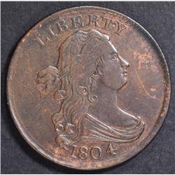 1804 DRAPED BUST HALF CENT  AU/UNC
