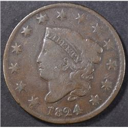 1824 LARGE CENT  FINE