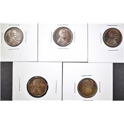 LOT OF 5 1909 LINCOLN CENTS  GEM UNC