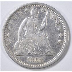 1858-O SEATED HALF DIME  XF/AU