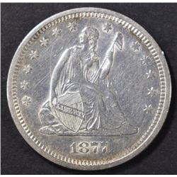 1877-S SEATED LIBERTY QUARTER  BU  OLD CLEANING
