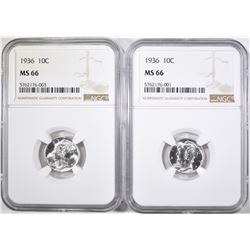 2-1936 MERCURY DIMES, NGC MS-66