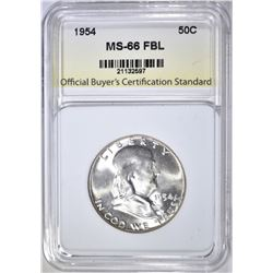 1954 FRANKLIN HALF DOLLAR, OBCS SUPERB GEM BU FBL
