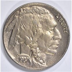 1937-D 3 LEG BUFFALO NICKEL AU/BU