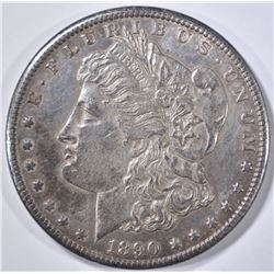 "1890-CC ""TAILBAR"" MORGAN DOLLAR AU/BU TONED"