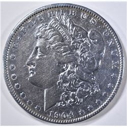 1904-S MORGAN DOLLAR AU CLEANED