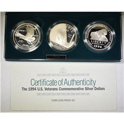 1994 U.S. VETS 3-COIN SILVER DOLLAR SET